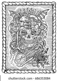 Black and white mystic drawing with scary skull, steampunk and gothic symbols as rose, demon wings, cross, cogs and wheels in frame. Occult and esoteric vector illustration, engraved background