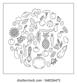 Black and white natural fresh vegetables fruits doodle drawings vector set