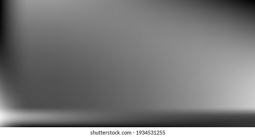 Black White Natural Horizontal Gradient Mesh. Metallic Blurred Texture Illustration. Silver Gray Smooth Surface Backdrop. Monochromatic Horizontal Gradient Mesh. Aluminium Blank Blurred Background.