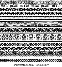 black and white Navajo seamless pattern. aztec abstract geometric print. ethnic hipster backdrop. It can be used for wallpaper,  web page background, fabric, paper, postcards. hand drawn.