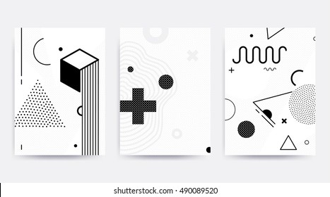 Black and white Neo Memphis geometric pattern set juxtaposed with bright bold blocks of color zig zags, squiggles, erratic images. Design background elements composition. Magazine, leaflet, billboard
