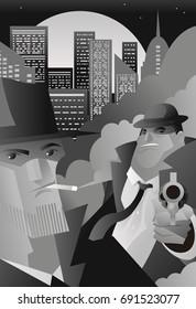 black and white noir pulp mafia organized crime in the city