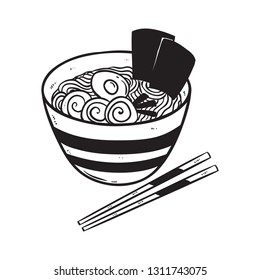 black and white noodle or ramen with doodle or hand drawn style