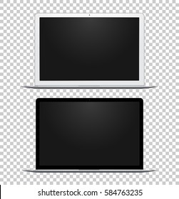Black and white notebook with empty screens isolated on transparent background. Vector realistic electronic gadgets.