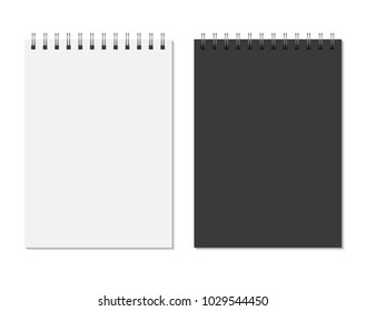 Black and white notepad mock up isolated on white background. Blank pages, copybook with metal spiral template. Realistic closed notebook vector illustration.