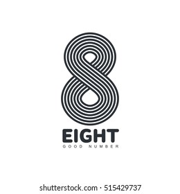 Black and white number eight logo template made of repeating circles, vector illustration isolated on white background. Black and white number eight graphic logotype