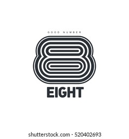 Black and white number eight logo template made of repeating circles, vector illustration isolated on white background. Graphic logotype