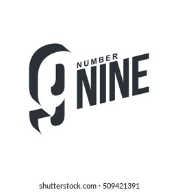 Black and white number nine diagonal logo template, vector illustrations isolated on white background. Graphic logo with diagonal logo with number nine