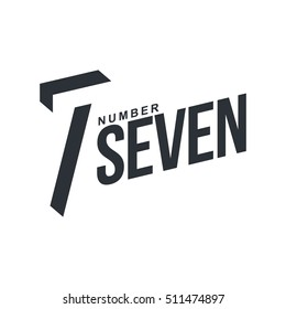 Black and white number seven diagonal logo template, vector illustrations isolated on white background. Graphic logo with diagonal logo with number seven