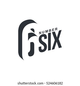 Black and white number six diagonal logo template, vector illustrations isolated on white background.