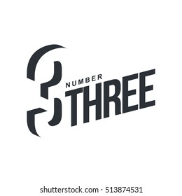 Black and white number three diagonal logo template, vector illustrations isolated on white backgroun three dimensional number three