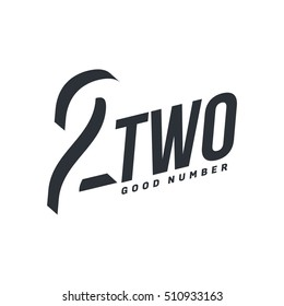 Black and white number two diagonal logo template, vector illustrations isolated on white background. Graphic logo with diagonal logo with number two