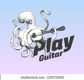 Black and white Octopus playing guitar on gradient background for poster designs and restaurant identities. Cool and modern hand drawn vector illustration isolated on colorful background.