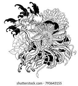 black and white old dragon with flower tattoo.Illustration chinese dragon among peony and chrysanthemum flower on wave background.traditional dragon tattoo idea.