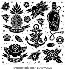 Black and white old school tattoo set with a texture on a white background. Vector illustration