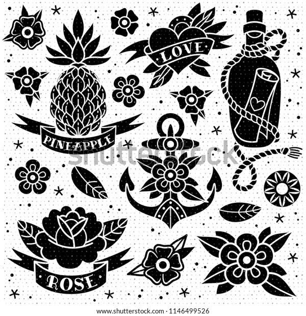 Vetor Stock De Black White Old School Tattoo Set Livre De