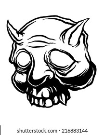 Black and White Oni Mask