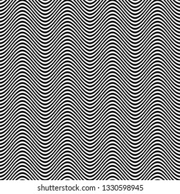 Black & white opart background with wavy distorted lines. Horizontal stripes background with wavy distortion effect. Optical illusion line background.