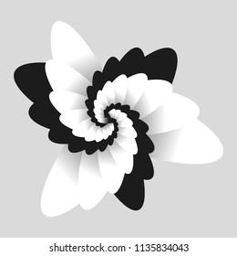 Black and white optical  flower illusion. Black and white fractal background. Surrealism. Shine flower background - Fractal Art. For printing and web.