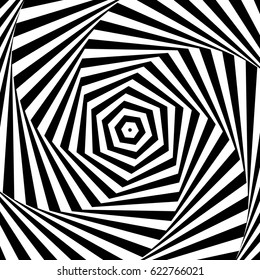 Black and white optical illusion. Illustration in Vector. abstract background