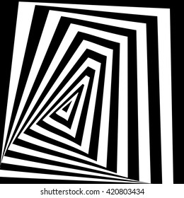 Black and white optical illusion. Stock vector.