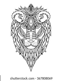 Black and white ornament of the face of the African wild king of beasts lion design ornamental lace. Page for adult coloring books. Hand drawn ink pattern. Vector illustration