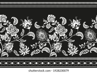Black and white ornamental border. Vector clipart. Climbing flowers horizontal pattern. Seamless pattern. Decorative plants line wallpaper. Two color border tile background
