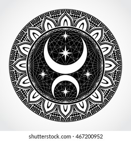 black white ornamental circle mandala with moon and stars