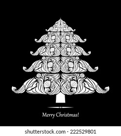 Black and white ornamental design christmas card