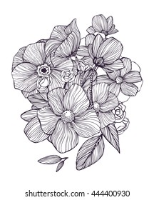 Black and white ornamental fantastic flowers, magic composition. Monochrome Pattern: Floral Texture, Decorative elements for Adult Coloring Book page. Hand drawn vector illustration.