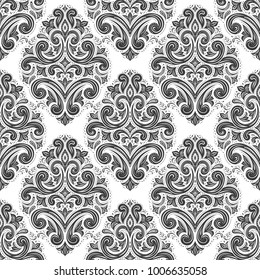 Black and white ornamental seamless pattern. Vintage. Elegant classic texture. Damask, Victorian, Baroque, paisley elements. Great for fabric and textile, wallpaper, packaging or any desired idea.
