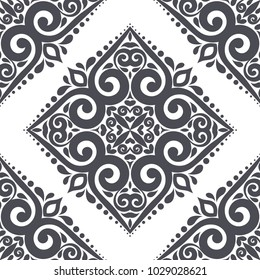 Black and white ornamental seamless pattern. Vintage, paisley elements. Ornament. Traditional, Ethnic, Turkish, Indian motifs. Great for fabric and textile, wallpaper, packaging or any desired idea
