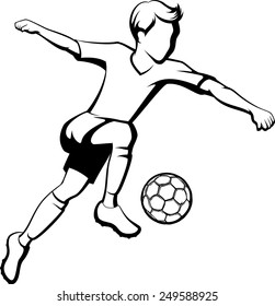 Black and White Outline of a boy kicking a soccer ball or football