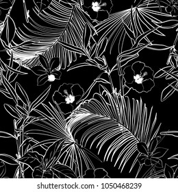 Black and white Outline dark forest   palm trees and tropical forest on the black background. Vector seamless pattern. Tropical illustration. Jungle foliage.