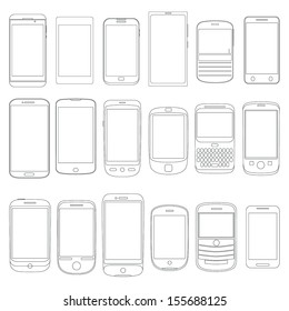 Black and white outline illustration - Set of various simple cell Mobile smart Phone Outlines as Vectors