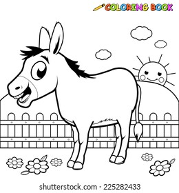 A black and white outline image of a cartoon donkey at the farm. Coloring book page.