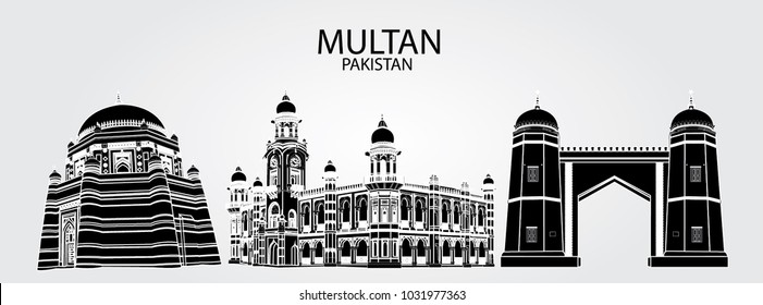 Black and White outlines with white background of monuments of Multan Pakistan. Including Tomb of Shah Rukn-e-Alam , Ghanta Ghar and Bab-e-Qasim Multan Fort.