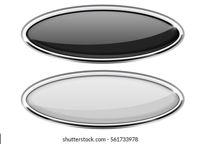 Black and white oval buttons with chrome frame. Vector 3d illustration isolated on white background.