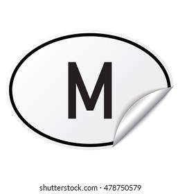 Black and white oval country code car sticker from Malta - M