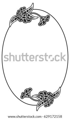 Black White Oval Frame Floral Silhouettes Stock Vector (Royalty Free ...