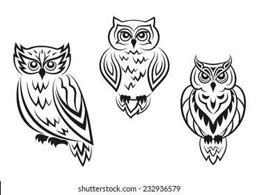 Black and white owl bird tattoos in silhouetted style isolated on white background