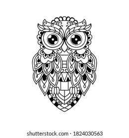 Black and white owl decoration, cut file owl illustration
