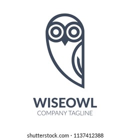 Black and white owl logo templates. Vector illustration isolated on white background. Great owl logo templates for companies, schools and colleges