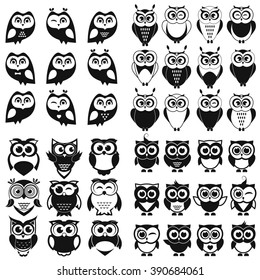 Black and white owl and owlet set