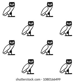 Black And White Owl Repeating Pattern Drawn Vector Background With Popgun Doodle For Wallpapers