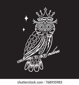 Black White Owl vector