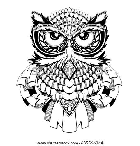 Black White Owl Vector Sketch Tattoo Stockvector Rechtenvrij