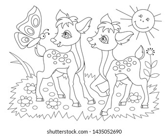 Black and white page for baby coloring book. Drawing of two cute fawns playing on the meadow. Printable template for kids. Worksheet for children and adults. Hand-drawn vector image.