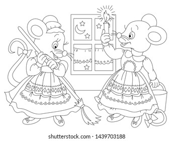 Black and white page for baby coloring book. Drawing of two cute mice cleaning their house. Printable template for kids. Worksheet for children and adults. Hand-drawn vector image.
