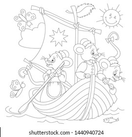 Black and white page for baby coloring book. Drawing of three cute mice traveling in sailboat. Printable template for kids. Worksheet for children and adults. Hand-drawn vector image.